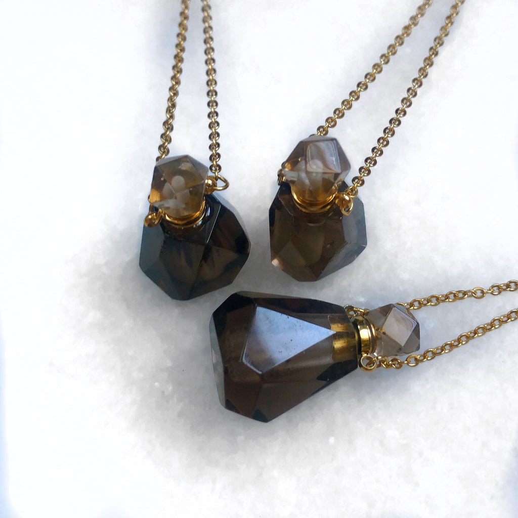 Smoky Quartz Crystal Perfume Bottle Necklace