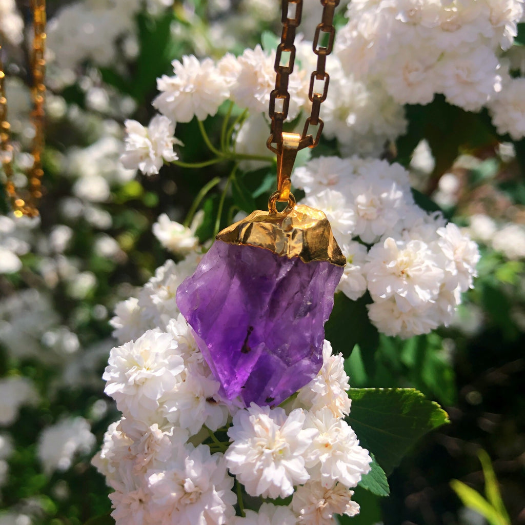 Elestial Amethyst Gold Plated Necklace Pendant