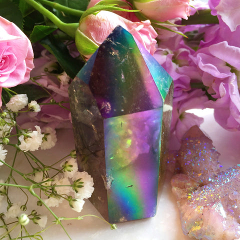 Rainbow Aura Smoky Quartz Self Standing Tower Point