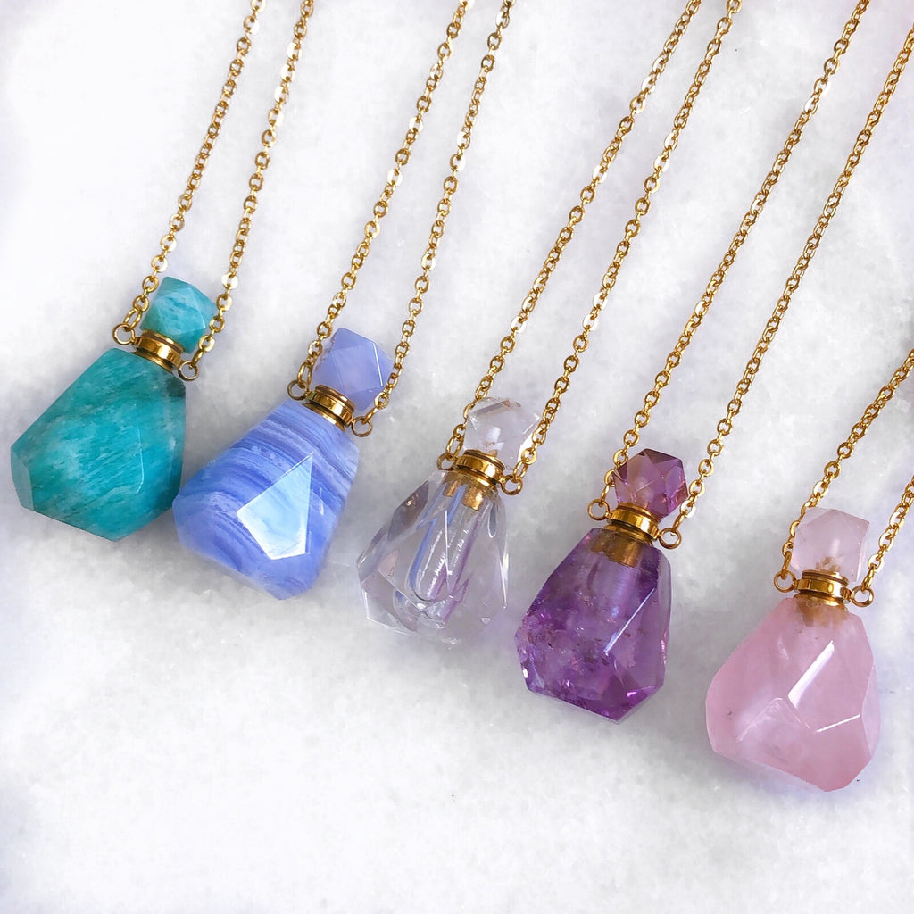 Amazonite Crystal Perfume Bottle Necklace