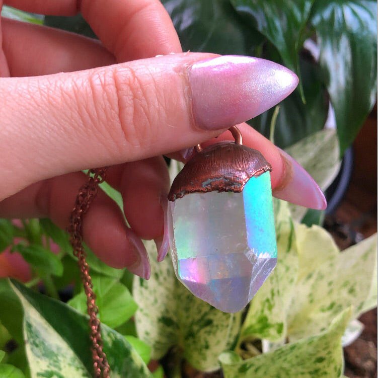 Angel Aura Quartz Copper Electroplated Necklace Pendant