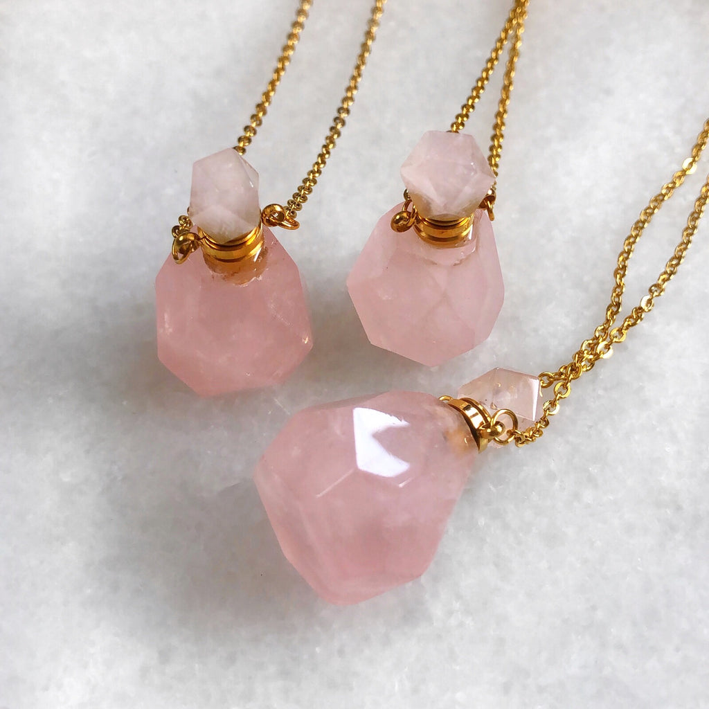 Rose Quartz Crystal Perfume Bottle Necklace