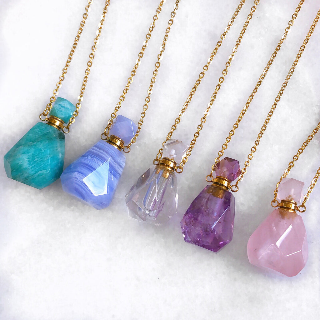 Clear Quartz Crystal Perfume Bottle Necklace