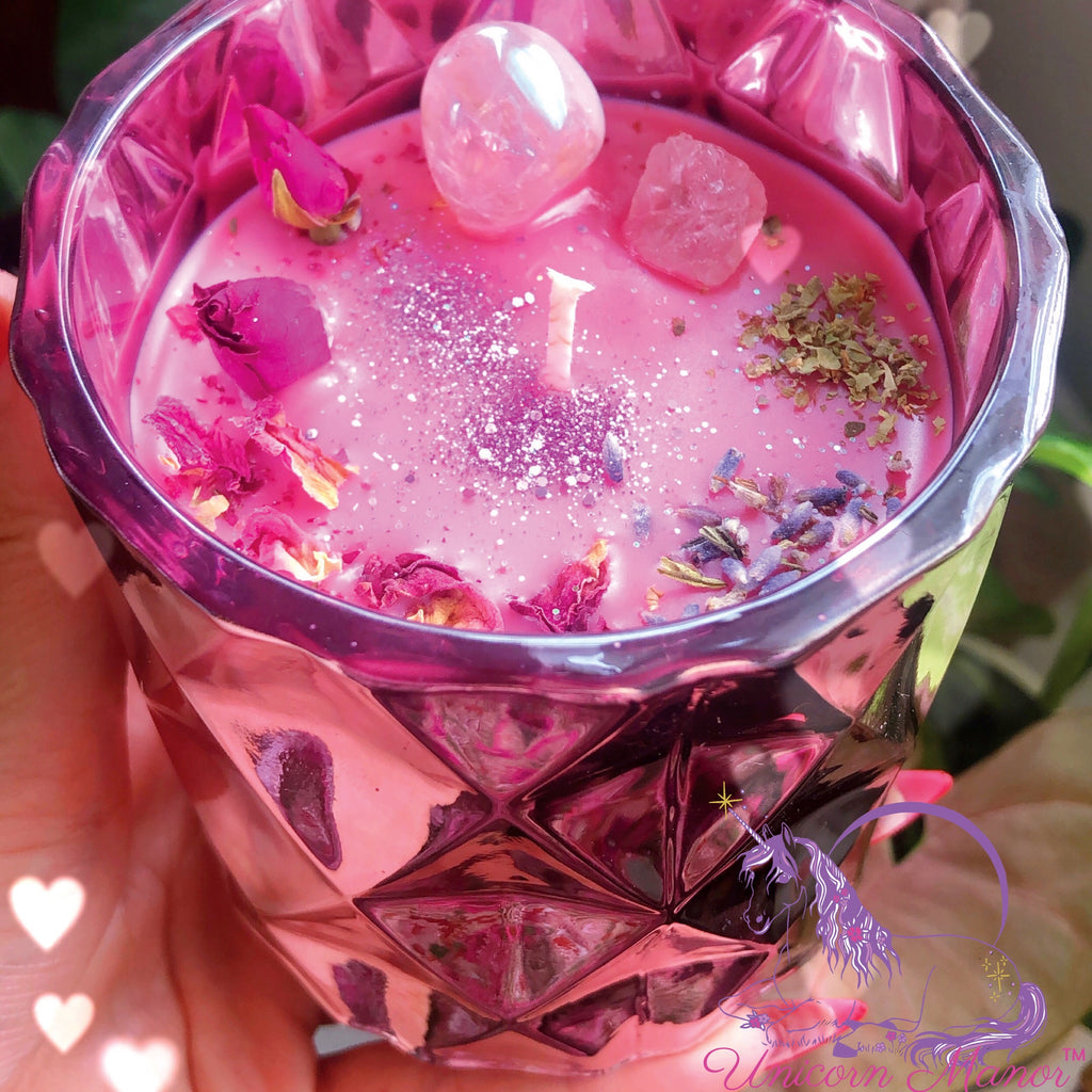 Limited Edition Mystic Unicorn The Lovers Luxury Crystal Candle *Morganite Edition*