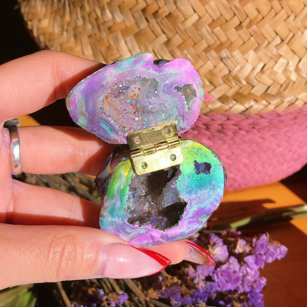 Angel Aura Agate Geode Ring Box #1