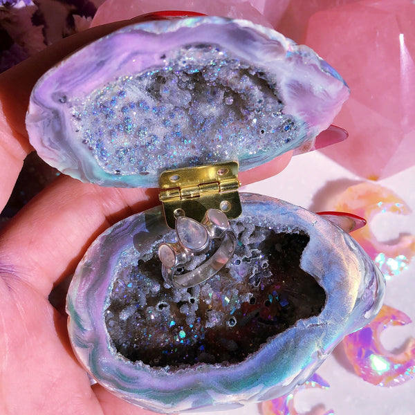 Angel Aura Agate Geode Ring Box #2
