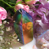 Rainbow Aura Smoky Quartz Generator Point