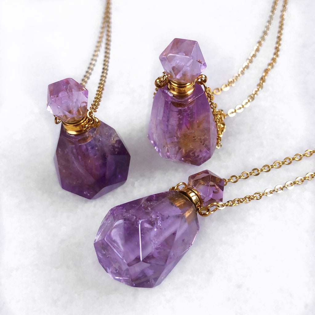 Amethyst Crystal Perfume Bottle Necklace