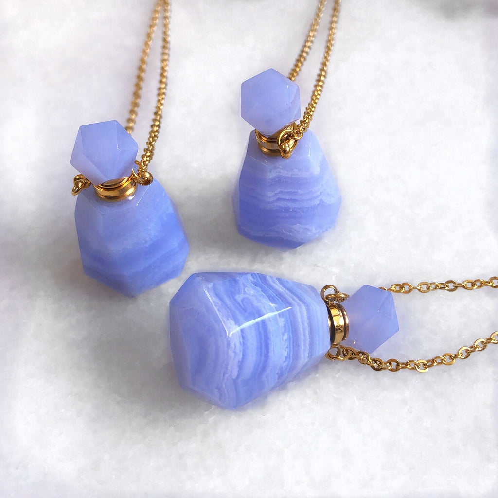 Blue Lace Agate Crystal Perfume Bottle Necklace