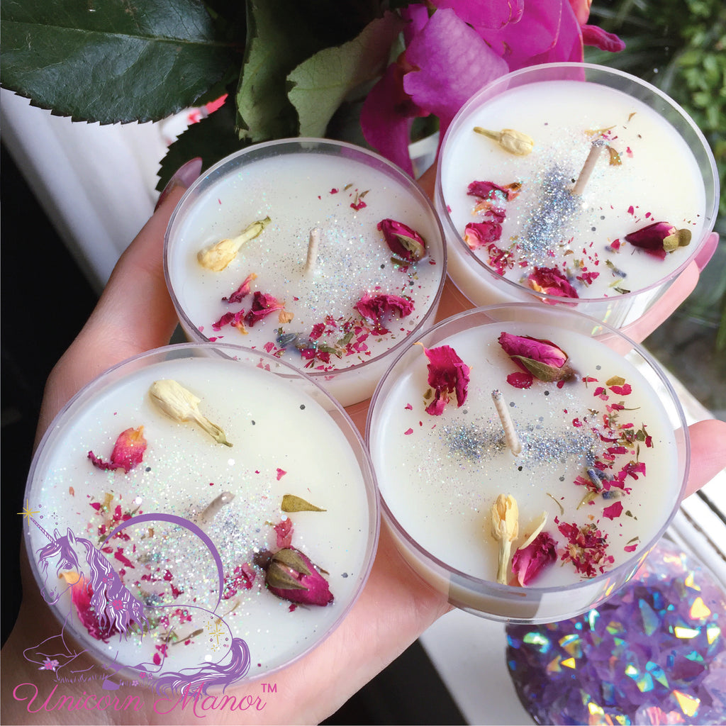 Mystic Unicorn Love Spell Rose Tealight Candle Set