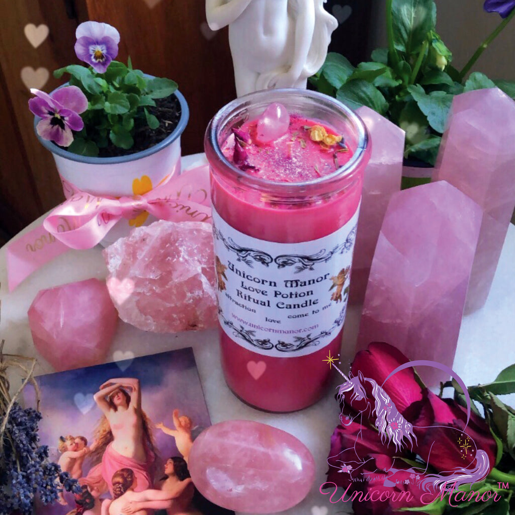Mystic Unicorn Love Potion Rose Ritual Crystal Candle