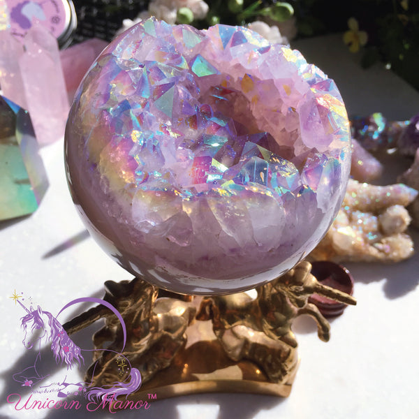 Rainbow Aura Quartz Geode Sphere Crystal Ball XL #3