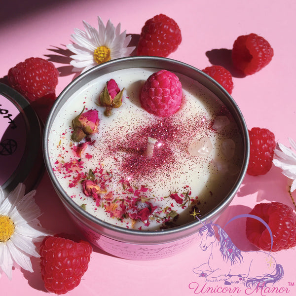 MYSTIC UNICORN x Daisy's Sweet Raspberry Crystal Candle