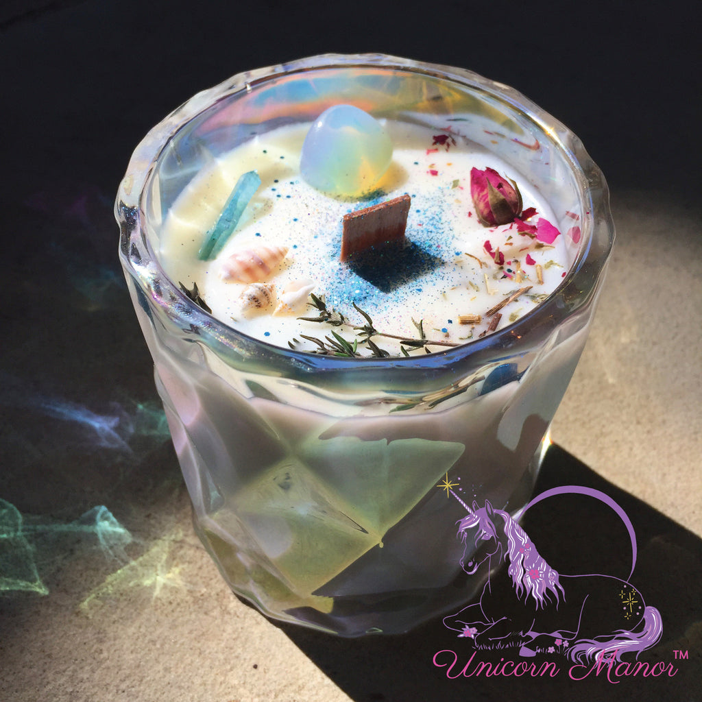 Limited Edition Mystic Unicorn Sea Witch Luxury Crystal Candle