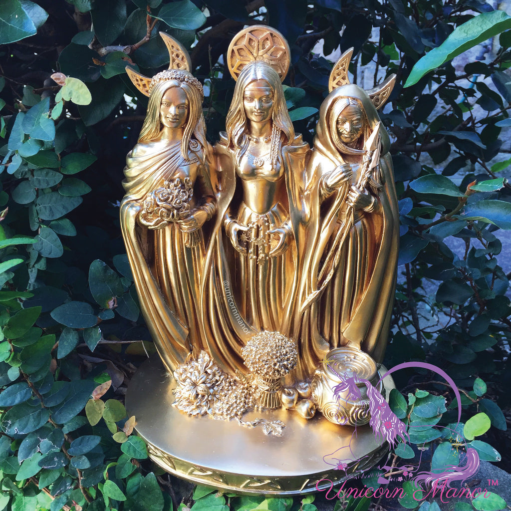 Triple Moon Goddess Maiden Mother Crone Altar Statue