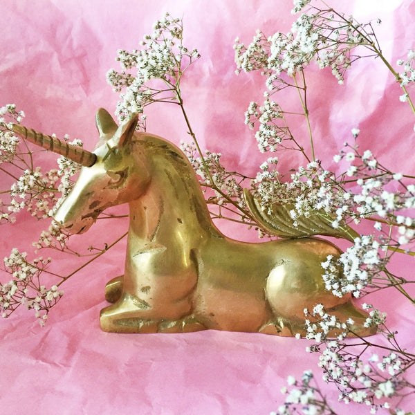 VINTAGE BRASS UNICORN FIGURINE