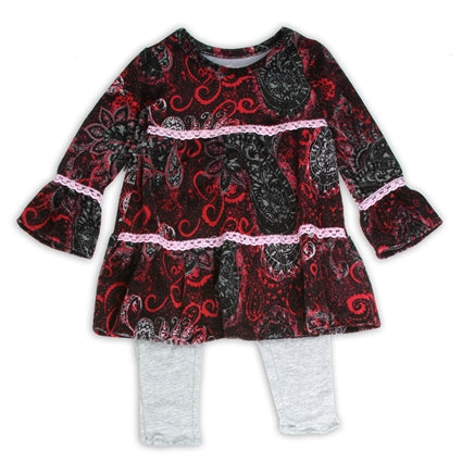 Girls Red Velour Dress with Grey Leggings