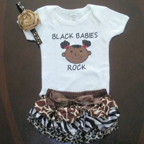 Romper and Brown Satin  Bloomers with Headband