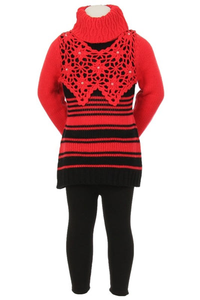 Girls Striped  Crochet Sweater with  Black Leggings