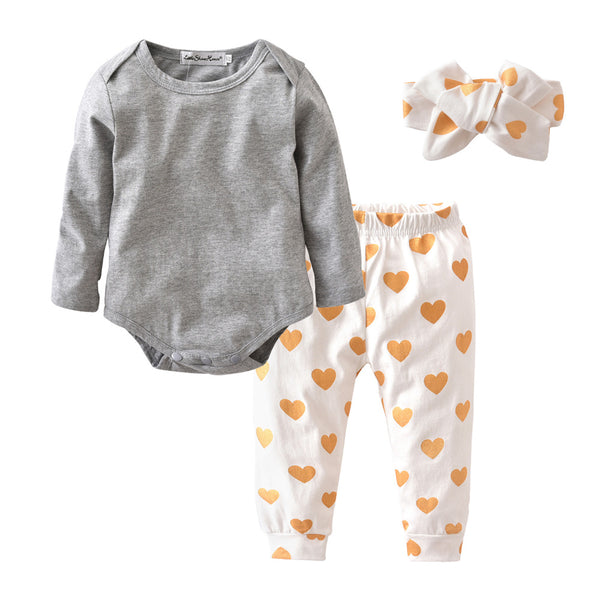 Baby Girl Long Sleeved Romper+ Heart Pants+Headband Clothing Set