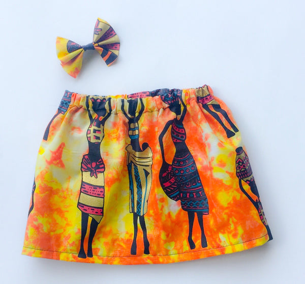Baby Lady with Baby African Print Skirt with Matching Hairclip