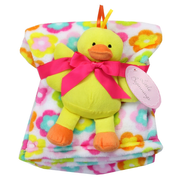 Flannel/Fleece Blanket with Plush Duck Toy