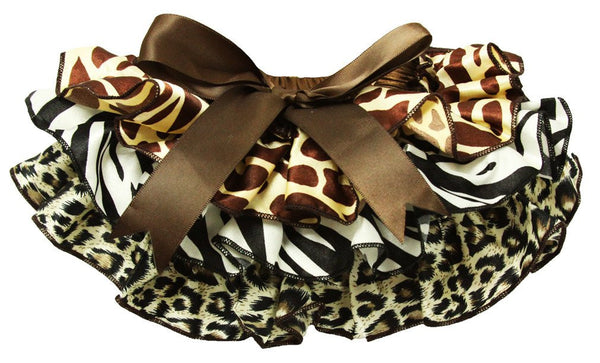 Satin Bloomers with Ruffles and Leopard Print