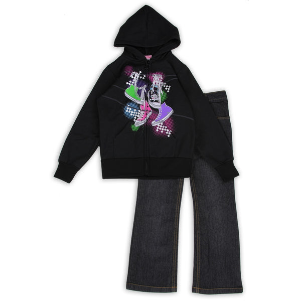 c2bc2d1ccdc5 Girls Toddler Converse Hoodie and Blue Jeans