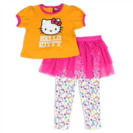 Hello Kitty  Girls  Yellow and Pink Top and Tutu Leggings