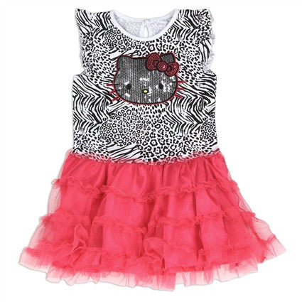 Hello Kitty  Black/Pink Summer Tutu Dress with Sequin Applique