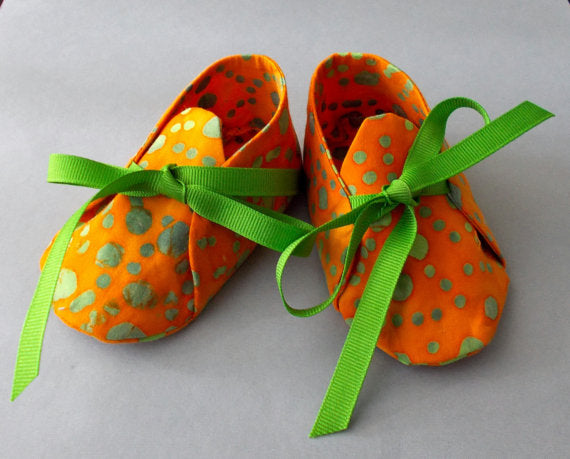 Girls Orange and Green Polka Dot Baby Booties