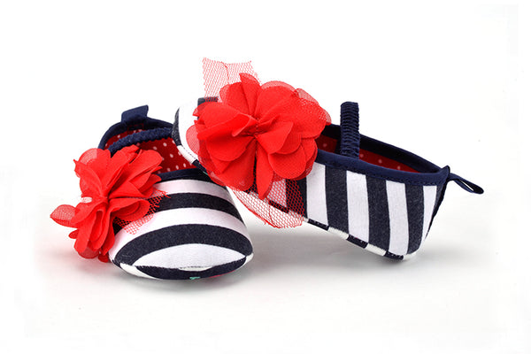 Infant  Blue and White Striped First  Walker Shoes