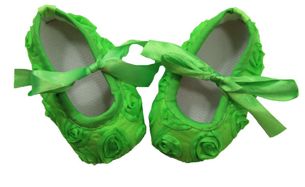 Rosette Lime Green Crib Shoes with Satin Ribbon Ties
