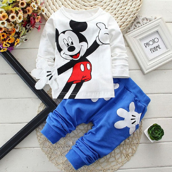 Hot Seller!!! Mickey Mouse Baby Girls /Boys Sets Clothing Cartoon Kids Print T Shirts+Sport Trousers Track Suit - PRW Babies