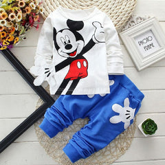 Mickey Mouse Baby Girls /Boys Sets Clothing Cartoon Kids Print T Shirts+Sport Trousers Track Suit