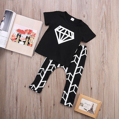 Infant/Toddler 2 Piece Set !! Infant Baby Boy Summer Outfit  Short Sleeve Top  with Diamond Logo+ Plaid Long Pants - PRW Babies