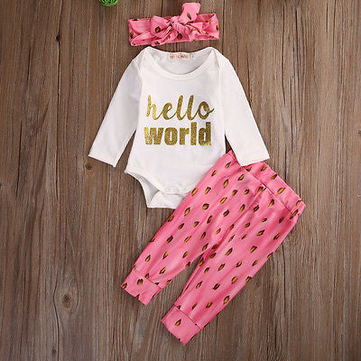 Hello World  Pink Infant Long Sleeve Romper+Leggings+Headband