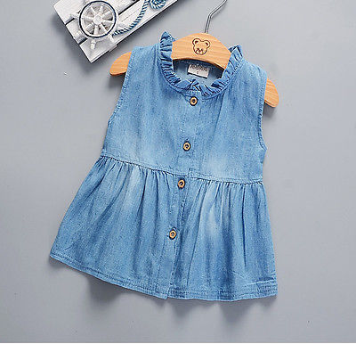 Denim Ruffled  Button Down  Dress