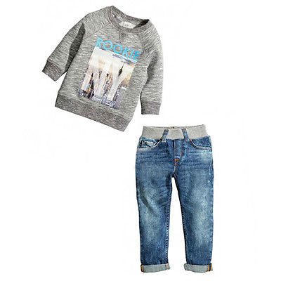 Boys  Long Sleeve Print Gray  Sweatshirt + Jeans Denim Pants Outfit