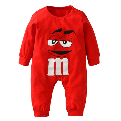 Baby Boy  Long Sleeve Cartoon  M& M One Piece  Romper