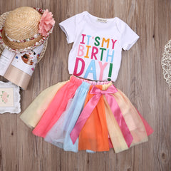 Rainbow Print Striped Tutu Birthday Dress