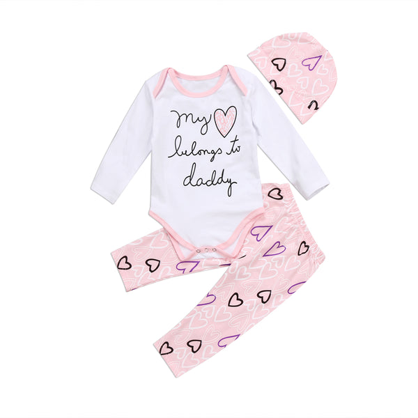 Girls Heart Lovely Romper Pink Pants +Hat