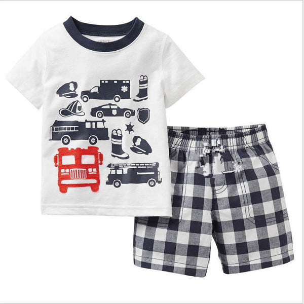 Firetruck and Striped Shorts