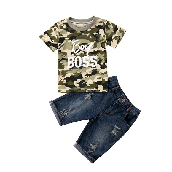 Toddler Boy Camouflage  T-Shirt and Denim Shorts
