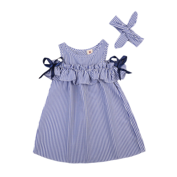 Baby Girls Blue Striped Off-Shoulder  Ruffled Dress with Bows