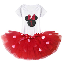 Minnie Mouse First and Second  Birthday  Polka Dot Outfits