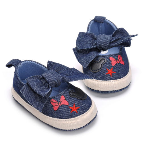 Denim Bowknot Crib Shoes
