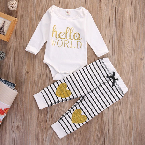 Hello World  Gold Hearts  Stripes Outfit