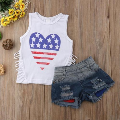 Heart Star Independence T-shirt and Denim Shorts