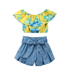 Off Shoulder Yellow Collar Tops+ Blue Shorts